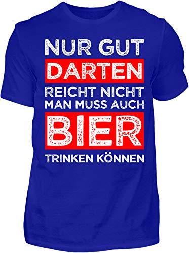 Kreisligahelden T-Shirt Herren Gut Darten reicht Nicht - Kurzarm Shirt Baumwolle mit Spruch Aufdruck - Hobby Freizeit Fun Dart Darts 180 (XL, Blau)