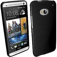 igadgitz Negro Case TPU Gel Funda Cover Carcasa para HTC One M7 Android Smartphone + Protector de pantalla