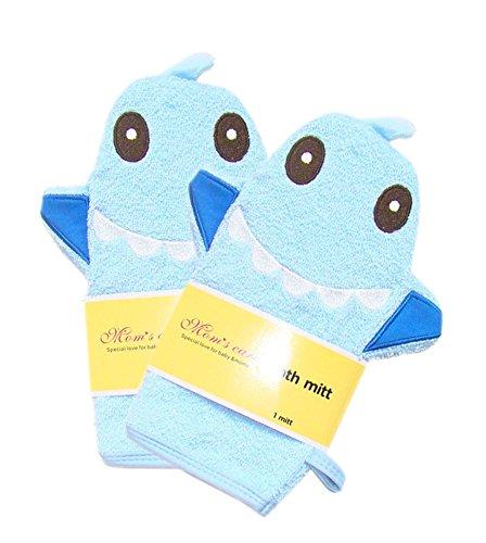 set-of-2-durable-soft-cute-baby-kids-bath-sponge-mitt-gloves-blue-shark