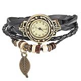 Souarts Femme Vintage Retro tisser autour Bracelet Feuille Décor Bracelet Montre Noir