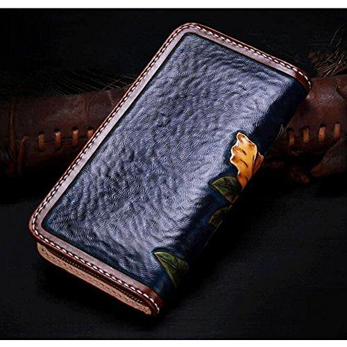 Xiaopangzi main Porte-monnaie en cuir véritable Portefeuille Sculpté Wallet Floral pour les filles et les femmes (A) C