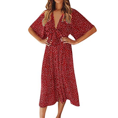 Robe Été Boheme Femme Imprimée Robe à Pois Knotbow Long Dress Manches Courte Manchon Papillon Robe Chaude Bord de Mer Plage Vacances JiaMeng