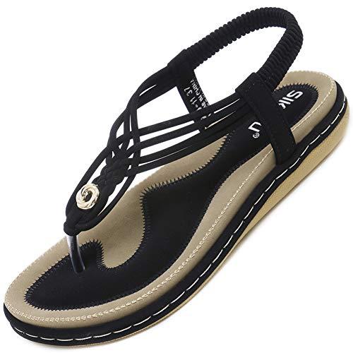 Sandalen Damen Sommer Flach Leicht Weich Elegant Zehentrenner Frauen rutschfest Outdoor Freizeit Strand Schuhe Schwarz Größe 40 -