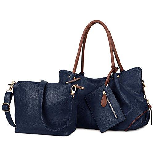 UTO Damen Handtasche Set 3 Stücke Tasche PU Leder Shopper klein Schultertasche Geldbörse Trageband blau -