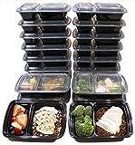 (20er pack) 950ml Lebensmittelbehälter mit 2 Fächern wiederverwendbare Frischhaltedose, Meal Prep ContainersBPA-frei, mikrowellengeeignet, spülmaschinenfest mit luftdichtem Deckel, Frischhaltebox für Meal Prep, Vorkochen