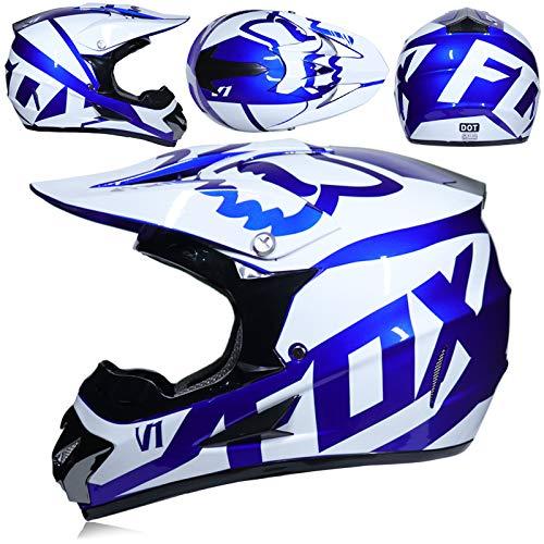 YUEYE Motorrad Motocross Motorradhelme Windschutzmaske Handschuhe SCHUTZBRILLE D.O.T Standard Kinder Quad Bike ATV Go-Kart-Helm Virtue,04,L - Blau Atv Kinder Helm
