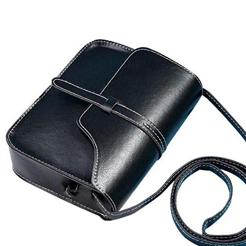 Umhängetasche Damen, Sunday Vintage Handtasche Tasche Leder Cross Body Schultertasche Messenger Solide Farbe Bag Mädchen Taschen (Schwarz) (Solide Tasche Große)