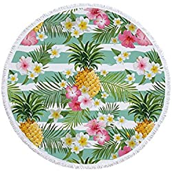 Puede enorgullecerse de su Toalla Redonda de Playa con borlas de Fruta piña y Toalla de Playa con Estampado de Flores Microfibra150x150cm