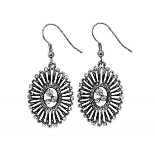hrringe Damen Ohrhänger Aztec Look silber Strass (Designer Modeschmuck Sale)