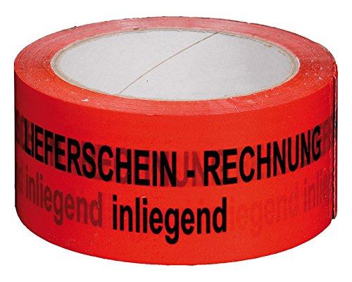 Packband Klebeband 50mmx66m, rot Aufdruck 'RECHNUNG/LIEFERSCHEIN INNENLIEGEND' / TOP-Klebeband in NO-NOISE Ausführung