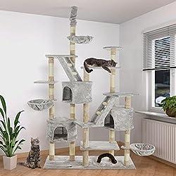 Happypet Kratzbaum Katzenbaum deckenhoch höhenverstellbar 260cm Sisalstamm 8cm GRAU