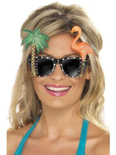 Preisvergleich Produktbild Brille mit Flamingo und Glitzerpalme Hawaiiparty Südsee