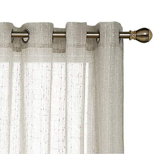 Deconovo Tülle Leinen Look Vertikale Streifen Sheer Fenster Vorhang für Tür 52x 63Ivory 1Paar 52x95 inch Line Flaxen Line Sheer