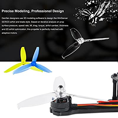 12Pcs Gemfan 5042 Propellers 3-Blade Props Windancer Series 5 x 4.2 Inch 5mm Mounting Hole for 190-220mm FPV Frame 2204-2036 Blushless Motor Racing Drone Quad Prop by Crazepony-UK by Crazepony-UK