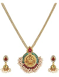 A2 Fashions Gold Plated Traditional Goddess Laxmi Pendent Necklace Set For Women And Girls