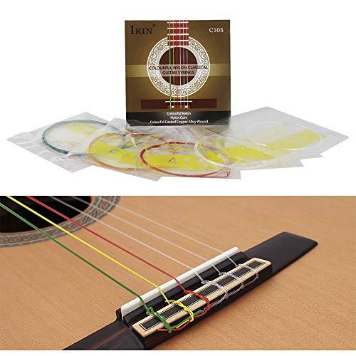 Kalaok C105 Bunte Regenbogen Akustische Klassische Gitarrensaiten Nylon Core Bunte Beschichtete Kupferlegierung Wunde, 6 teile/satz (.028-.043)