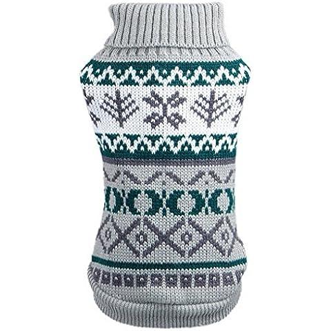 EOZY Ropa de Suéter Navidad para Perros de Perritos Mascotas con Estampado (XS,pecho 28-30cm) Gris