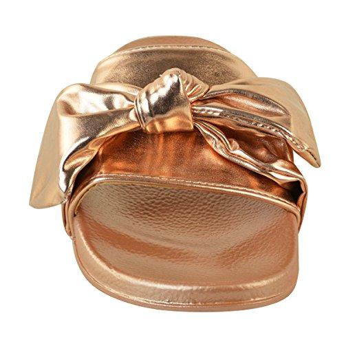 donna comodo BASSE FIOCCO passanti SATIN Sposa Matrimonio pantofole sandali taglia rosa dorato metallizzato