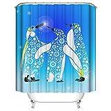 HUIYIYANG Blaue Blumen und Pinguin Family Fantasy Pattern Kundenspezifischer Wasserdichter Polyester Gewebe Badezimmer Duschvorhang 66