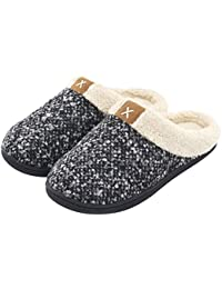 ba1e301f399 Ladies  Comfort Memory Foam Slippers Wool-Like Plush Fleece Lined House  Shoes w