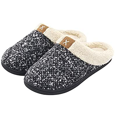 Ladies' Comfort Memory Foam Slippers Wool-Like Plush Fleece Lined House Shoes w/Indoor, Outdoor Anti-Skid Rubber Sole (3-4 UK / 36-37 EU, Black)