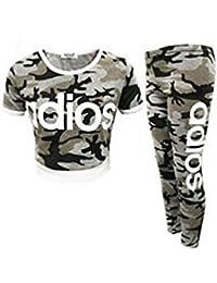 e7c8fbc656f4e ZEE FASHION New Kids Girls Adios Camouflage Military Army Crop Top    Legging Age 7-