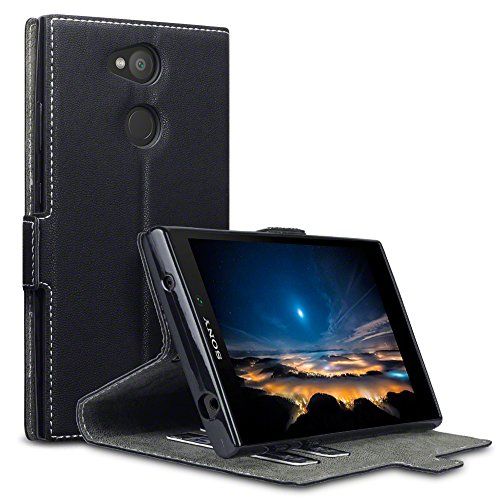 Terrapin, Kompatibel mit Sony Xperia L2 Hülle, Leder Tasche Case Hülle im Bookstyle mit Standfunktion Kartenfächer - Schwarz EINWEG