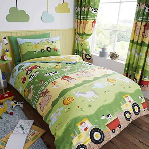 Happy linen company set copripiumino - double face conta le pecore/animali della fattoria - verde/giallo - singolo