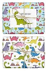 4x Geschenkpapier Dinosaurier für Kinder: doppelseitige Bögen DIN A2 (Öko, Recycling-Papier) + 1x Postkarte | Für Jungen und Mädchen | Made in Germany