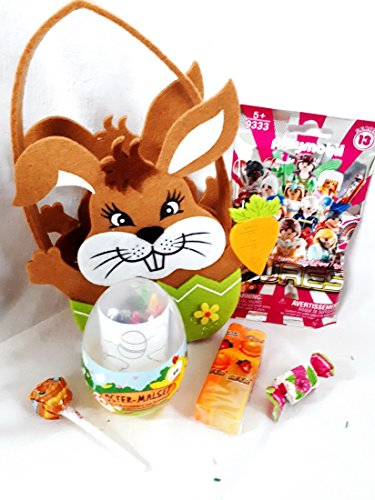 110808 Kinder Osterkorb Filz Hase groß für Mädchen mit Playmobil und Malsachen im Ei für unterwegs als Geschenk verpackt