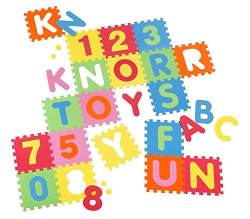 Preisvergleich Produktbild Knorrtoys - 21004 Puzzlematte Bodenpuzzle Spielmatte Spielteppich Schaumstoffmatte Alphabet und Zahlen 36 Matten  (86 tlg.) TÜV-Rheinland Testbericht von Juli 2016