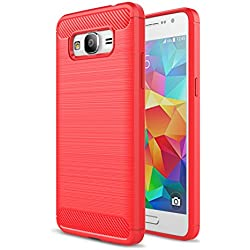 LXHGrowH Coque Silicone TPU pour Samsung Galaxy Grand Prime G530H G5308W, Ultra Mince Cover Souple Housse Étui (Rouge)