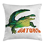 VVIANS Animal Throw Pillow Cushion Cover, Alligator Has a Word Gator Crocodile Humor Wild Life Safari Aquatic Print, Decorative Square Accent Pillow Case, 18 X 18 Inches, Green Orange White