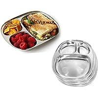 Placa de comedor oval de acero inoxidable 3 compartimentos para Pav Bhaji y desayuno, plato de picnic, platos de plato redondo de vajilla, servicio de mesa, día de pascua / día de madres / regalo de viernes santo Thali, 9.9 X 8.3 pulgadas (plateado)