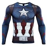 HOOLAZA Avengers Super Heroes Herren Langarm Kompressions T Shirt Herren Joggen Motion Shirt, 10, L