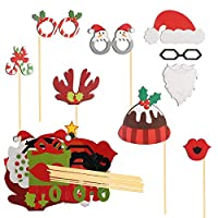 TAZEMAT 49 Pieces Christmas Photo Booth Props New Year DIY Funny Selfie Props for Party Accessories Xmas Santa Hat Mustache Wedding Decoration Supplies Masks Cardboards Natural Wooden Sticks Rods