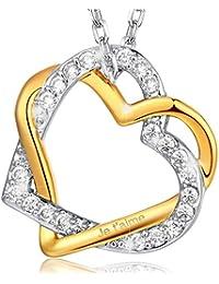 MARENJA Cristal-Collier Femme en Coeur Double Entrelacé-Gravé «Je t'aime»-Plaqué Or Jaune/Blanc-Bijoux Fantaisie-44+5cm
