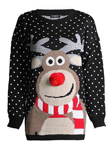 *FK Styles Unisex Weihnachtspullover Rudolph Drucken 3D Nase Pom Pom*