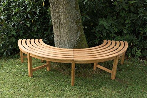 CLP 180° Teak Baum-Bank MALE, halbrund Ø ca. 115 cm / 200 cm (innen/außen), Teakholz, massiv, ohne Rückenlehne Braun - 2