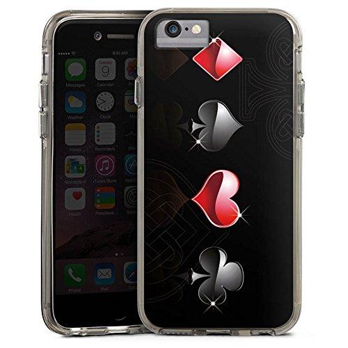 Apple iPhone 6s Plus Bumper Hülle Bumper Case Glitzer Hülle Herz Heart Kreuz Bumper Case transparent grau