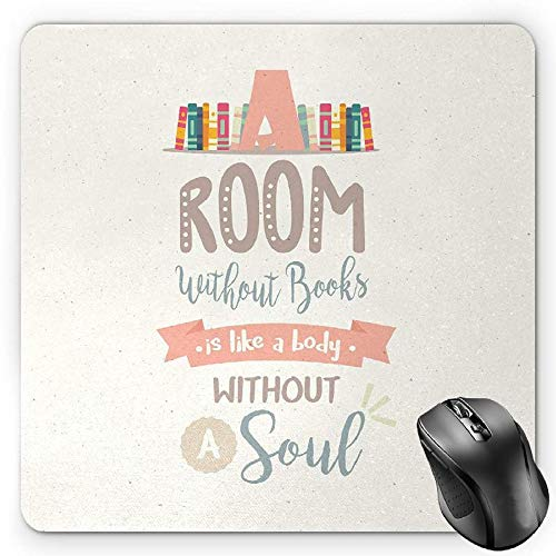Laptop Shelf (BGLKCS Book Mauspads,Book Shelf Illustration with A Room without Books is Body without Soul Quote Print,Standard Size Rectangle Non-Slip Rubber Mousepad,Multicolor)