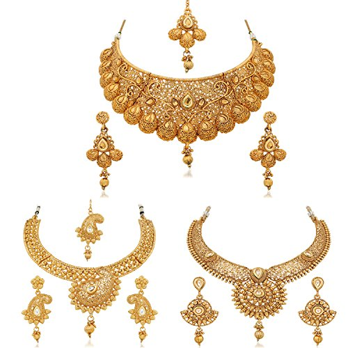 Apara Bridal Pearl Lct Stones Gold Necklace Set Jewellery: Apara Gold Plated Bridal Necklace Combo Set With Maang
