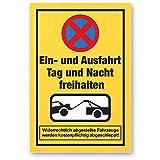 Einfahrt freihalten Kunststoff Schild (30 x 20cm), Ein- / Ausfahrt Tag/Nacht freihalten - auch gegenüber, Hinweisschild Einfahrt, Parken verboten - Parkverbot, Halteverbot