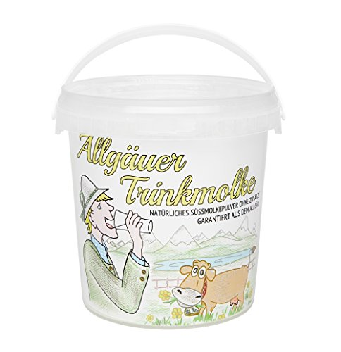 Allgäuer Trinkmolke - Süssmolke Molkepulver - Süßmolkepulver ohne Zusätze - Naturprodukt aus bester heimischer Milch - Im praktischen Vorrats-Eimer (750 g) (Milch-pulver-bad)