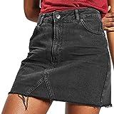 CICIYONER Jeanskleid Damen Lässige A-Line Denim-Distressed,Figurbetonter Jeanskleid mit hoher Taille für Damen