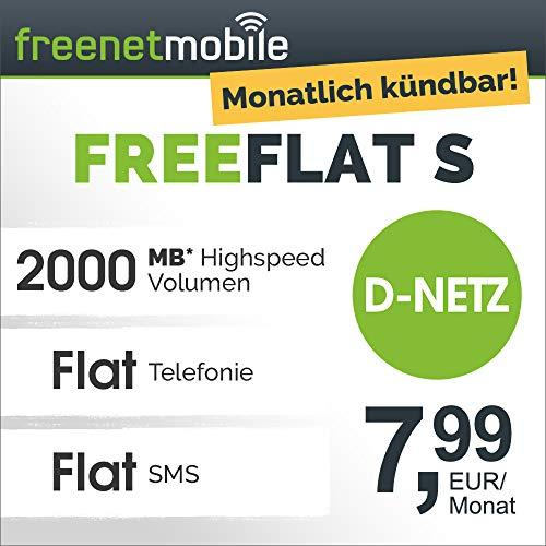freenetmobile freeFLAT S im D-Netz monatlich kündbar (2 GB LTE Internet-Flat max. 21 MBit/s, Telefon- und SMS-Flat in alle dt. Netze, EU-Roaming, 7,99 EUR/Monat, 25 EUR Rufnummernmitnahme-Bonus) -