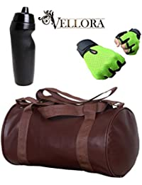 VELLORA Soft Leather Duffel Gym Bag (Brown) With Penguin Sport Sipper, Gym Sipper Water Bottle And Green Color...
