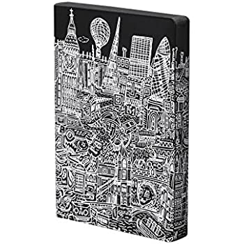 "Nuuna Graphic L ""London"" Smooth Bonded Leather Notebook - Black"