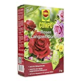 COMPO Rosen Langzeit-Dünger für alle Arten von Rosen, Blütensträucher sowie Schling- und Kletterpflanzen, 6 Monate Langzeitwirkung, 2 kg, 25m²