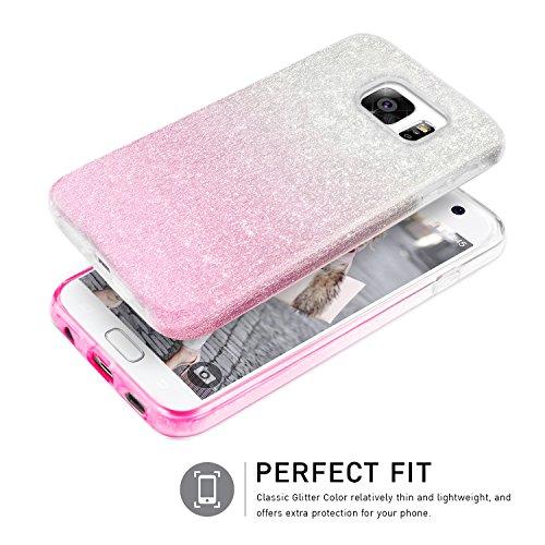 Bling Bling Samsung Galaxy S7 Hülle, TheBlingZ.® Bling Bling Strass Glitzer TPU Hybrid Schutzhülle für Samsung Galaxy S7 - Rosa Pink Shading